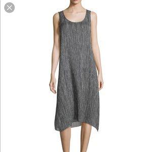 Eileen Fisher Firefly Printed Crinkle Silk Dress